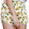 New Design 2015 Fashion Chiffon Shorts for Women Pineapple Pattern Mid Waist Women Sexy Summer Hot Shorts Plus Size S M L XL 34
