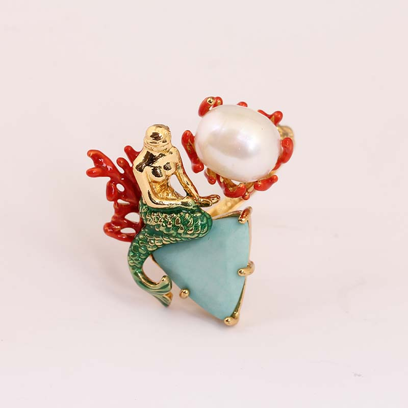 все цены на France 2016 New Arrivals Enamel Glaze Ocean Goddess Mermaid Pearl Gold Really Plated Ring Jewelry For Give Women Gift