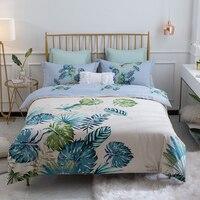 4Pieces Leaves printing Queen King size Bedding set 100% Cotton Soft Bedsheet set Duvet cover Pillowcase