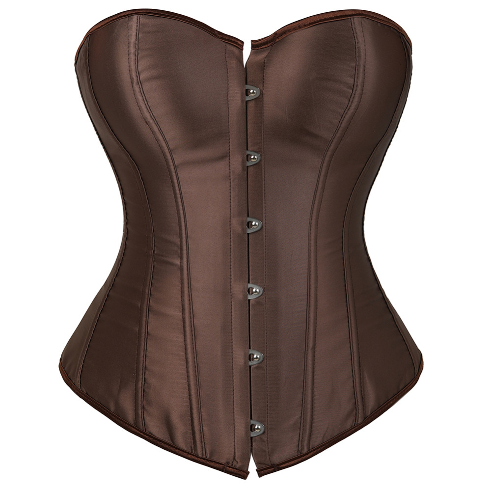 Women Sexy Brown   Corsets     Bustiers   Lace Up Overbust   Corset   Lingerie top Sexy Victorian Vintage Slim Corselet Plus Size 6XL