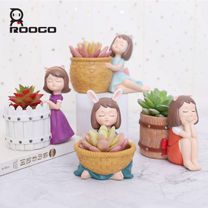 Image 3 - Roogo Bloempot Hars Amerikaanse Stijl Bloempotten Decoratieve Leuke Meisje Vetplanten Planten Pot Voor Huis Tuin Balkon Decoratie