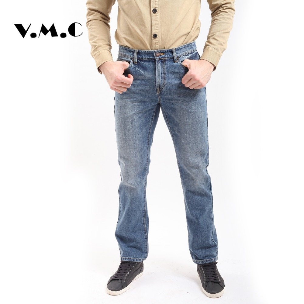 Newest Men's Biker Jeans Denim Baggy Jeans Blue Zipper Fly Cotton Softener Full Length Top Quality V.M.C Brand Casual Jeans Pant 2016 men jeans denim zipper fly cargo pants softener mid cotton shorts lightweight print brand new loose yellow green