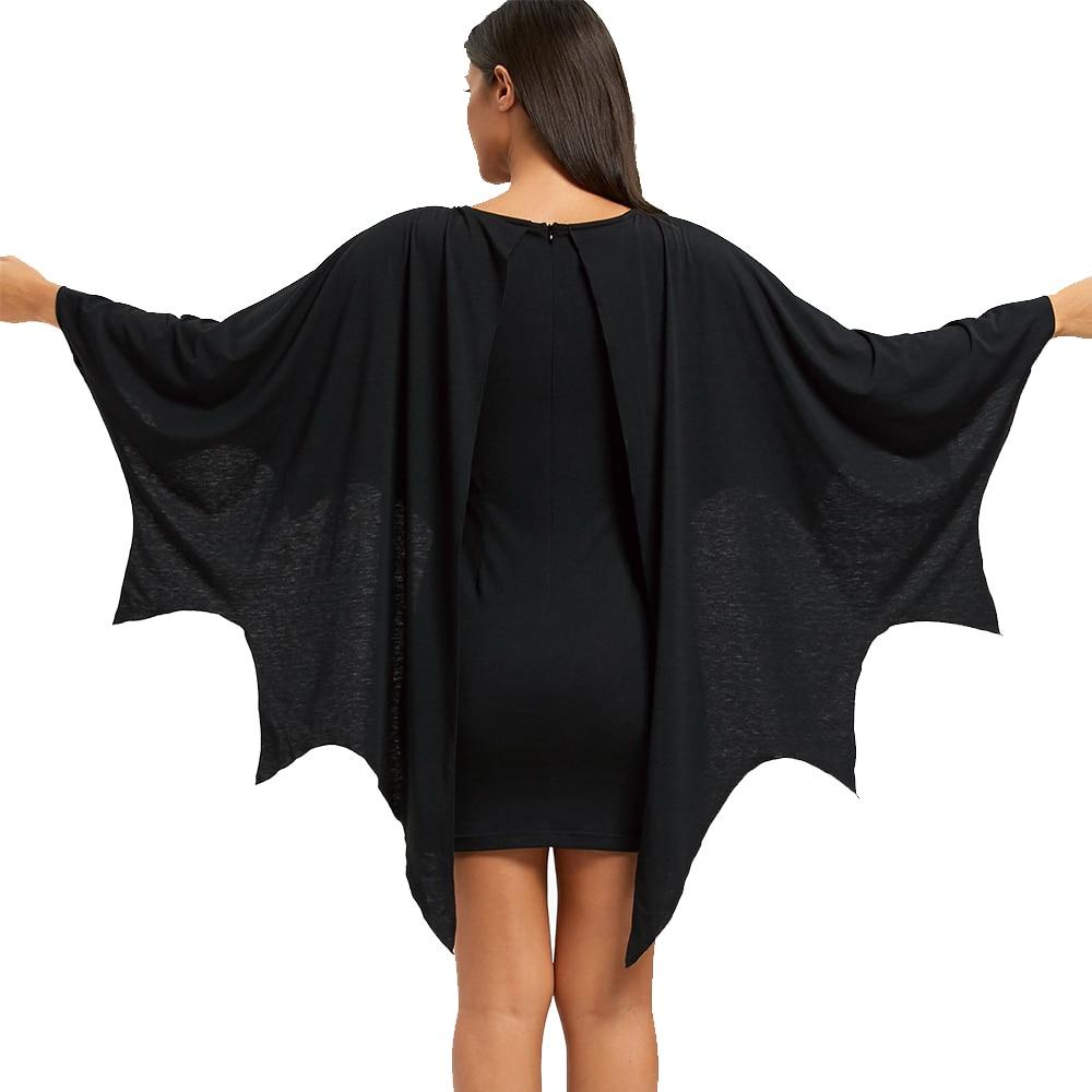 AZULINA Halloween Bodycon Dress with Bat Wings Gothic Style U Neck Long Sleeves Solid Mini Dresses Women Autumn Winter Vestidos 2