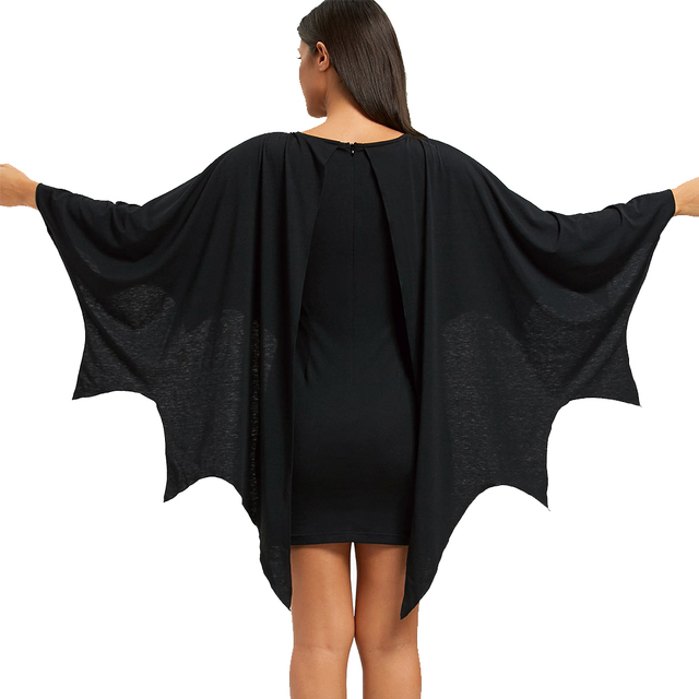 AZULINA Halloween Bodycon Dress with Bat Wings Gothic Style U Neck Long Sleeves Solid Mini Dresses Women Autumn Winter Vestidos 2