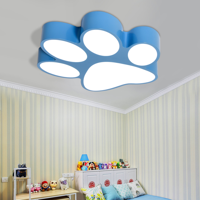 Modern creative paint colorful iron children bedroom LED lighting home decoration arcrylic footprint design ceiling lamp
