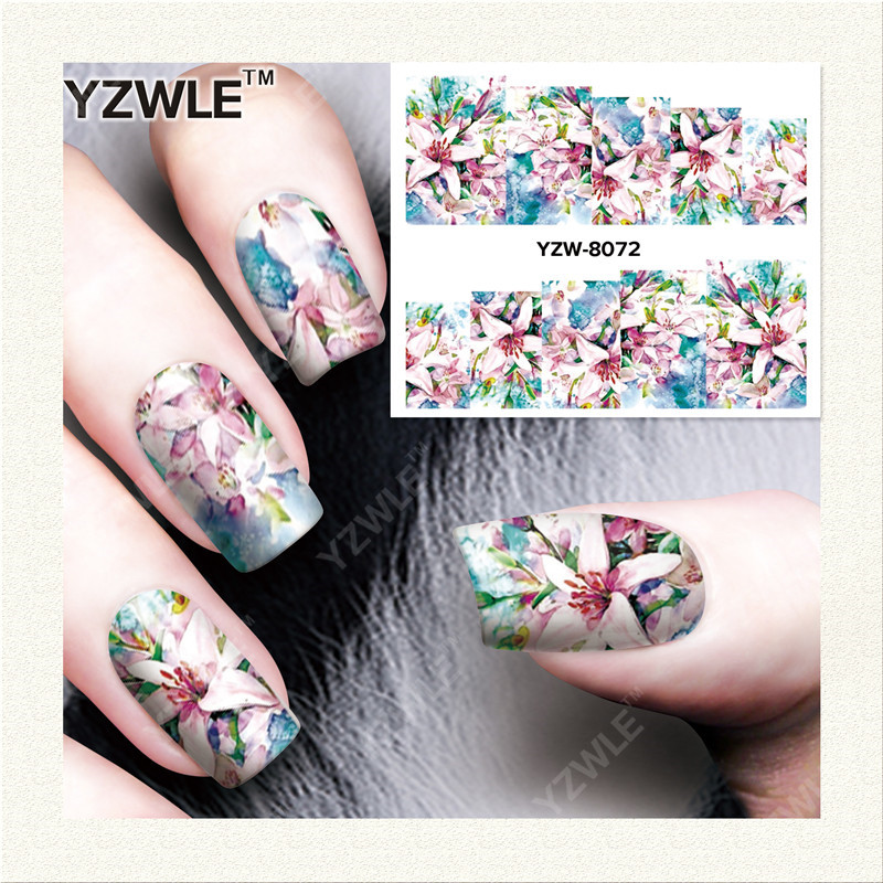 YZWLE 1 Sheet DIY Nails Art Decals Water Transfer Printing Stickers For Manicure Salon YZW-8072 yzwle 1 sheet hot gold 3d nail art stickers diy nail decorations decals foils wraps manicure styling tools yzw 6015