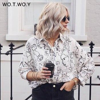 WOTWOY Fashion Woman Blouses 2019 Spring Loose Long Batwing Sleeve Print Long Women Tops and Blouses White Shirts Harajuku Blouses