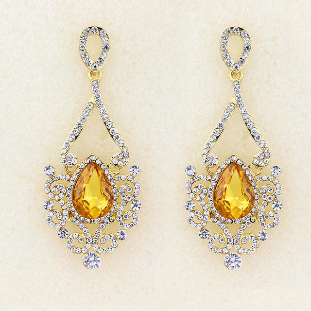 Ethnic Vintage Long Crystal Earrings