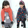 Winter boys and girls bib Scarlet hair ball children scarf Folder cotton warm children thick scarf