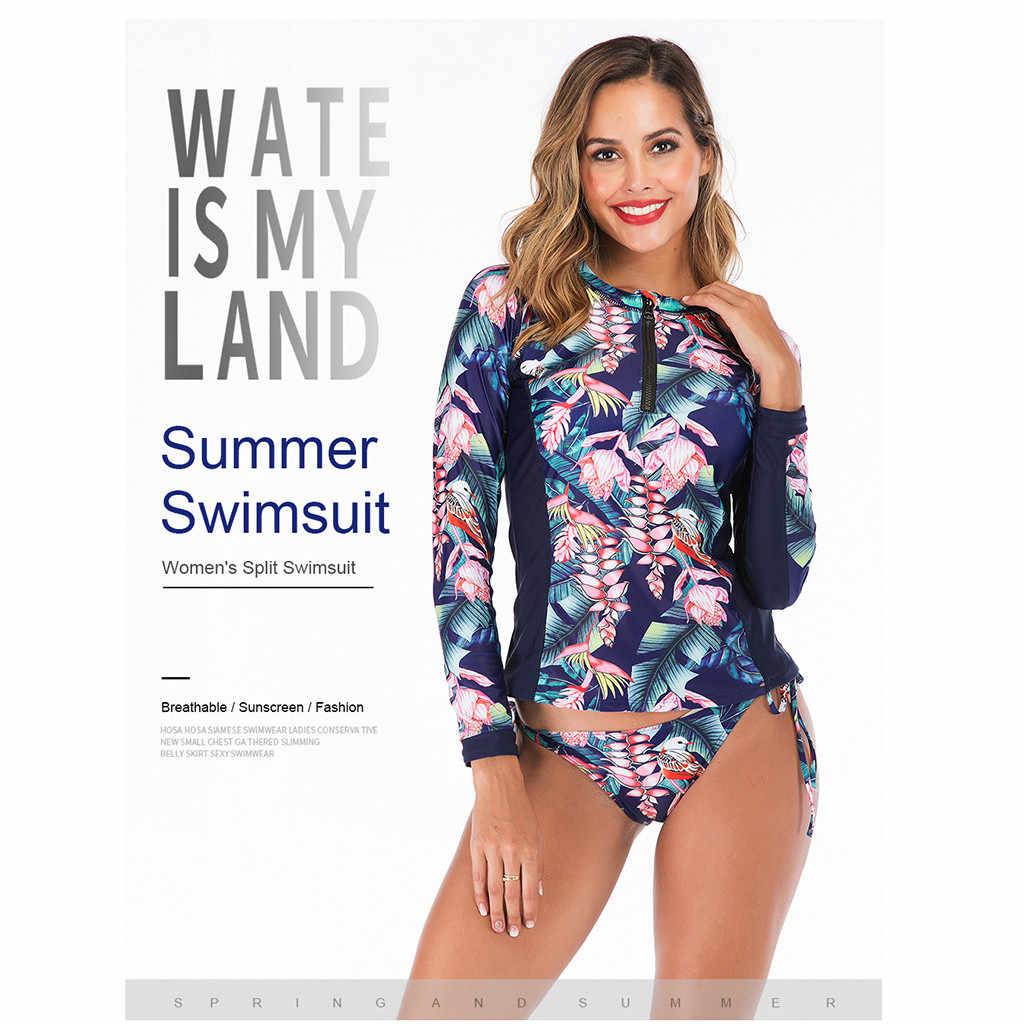 Kobiety strój kąpielowy z długim rękawem sport pływanie garnitur kobiety stroje kąpielowe kombinezon do nurkowania sztuka wody Rashguard Surf pływać Sexy Surf Swimsuit