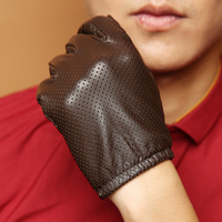 Men's Smart Touch Screen Genuine Leather Thin Mesh Texting Driving Gloves Black Brown