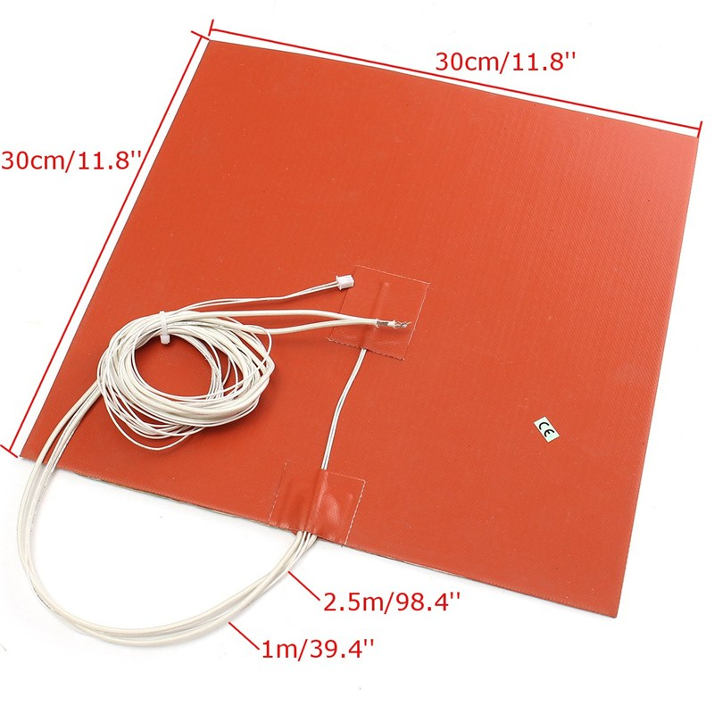 1 шт. оранжевый 30x30 см 750 Вт 220 В Силиконовый обогреватель кровать pad Термистор для 3D-принтеры