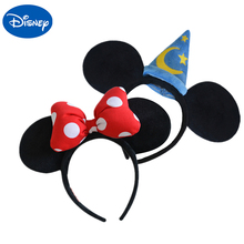 Original Disney Plush Headdress Toy Mickey Minnie Mouse Headwear Princess Ears Girls Hair Bands Head Hoop Kid Gift