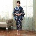 Azul marinho de Cetim Yukata Japonês Kimono Bath Vestido Das Senhoras das Mulheres Do Vintage Com Obi Vestido da Dança Desempenho Roupas Cosplay