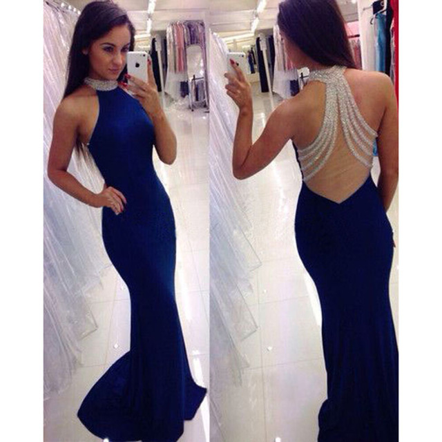 460c35b26e US $169.0 |2016 Navy Blue Mermaid Prom Dresses with Halter Sexy See Through  Back Beaded Sequins Long Prom Party Gowns robe bal de promo-in Prom ...