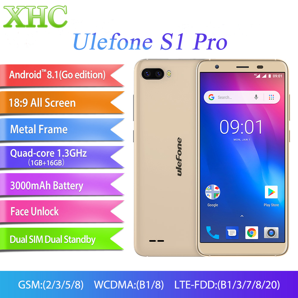 Ulefone S1 Pro 5.5inch Mobile Phone Android 8.1 MT6739 Quad Core GPS Face Unlocked RAM 1GB ROM 16GB Dual SIM LTE 4G SmartphonesUlefone S1 Pro 5.5inch Mobile Phone Android 8.1 MT6739 Quad Core GPS Face Unlocked RAM 1GB ROM 16GB Dual SIM LTE 4G Smartphones