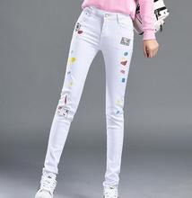 New White Jeans Spring Fashion Sexy Embroidery Print Skinny Pencil Pants Long Trousers Plus Size Slim