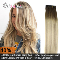 HiArt 100g/pc Weft Hair Extensions In Hair Weaves 100% Real Human Hair Salon Pre Bonded Balayage Double Drawn Straight 182022
