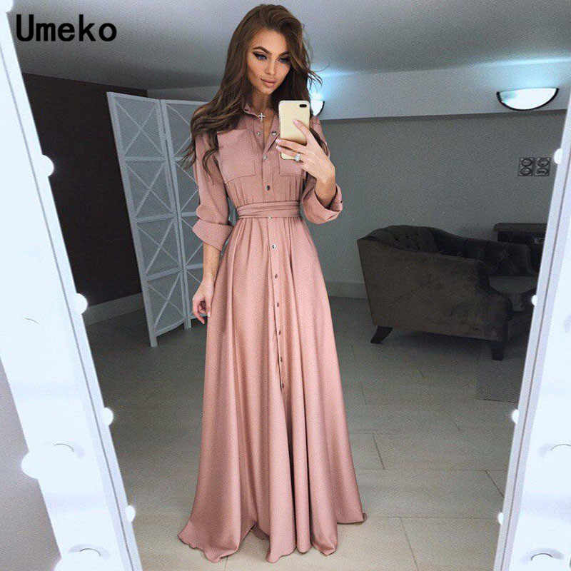 Umeko noir blanc chemise robe femmes col rabattu solide printemps Maxi dames robes à manches longues tenue décontractée femme élégante