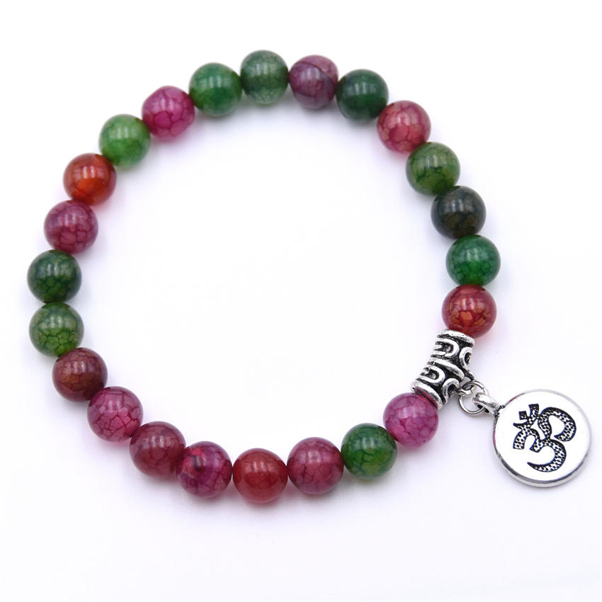 Natural Stone Strand Bracelet Yoga Chakra Mala Bracelet OM Lotus Women Men Beaded Charm Bracelet Jewelry Pulseras dropshipping - Окраска металла: ZT110-5