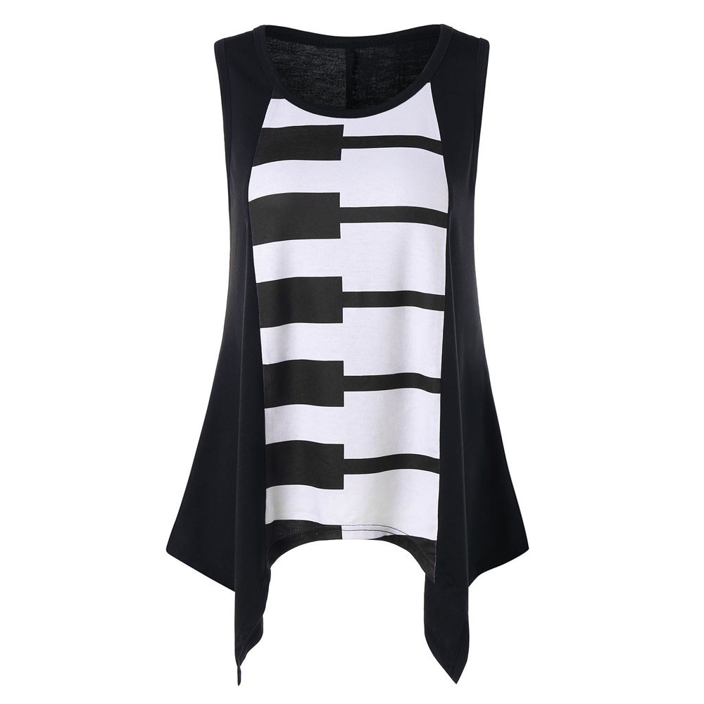 Womens casual spring summer fashion piano printing sleeveless o-neck vest shirt tank blouse tunic tops gift
