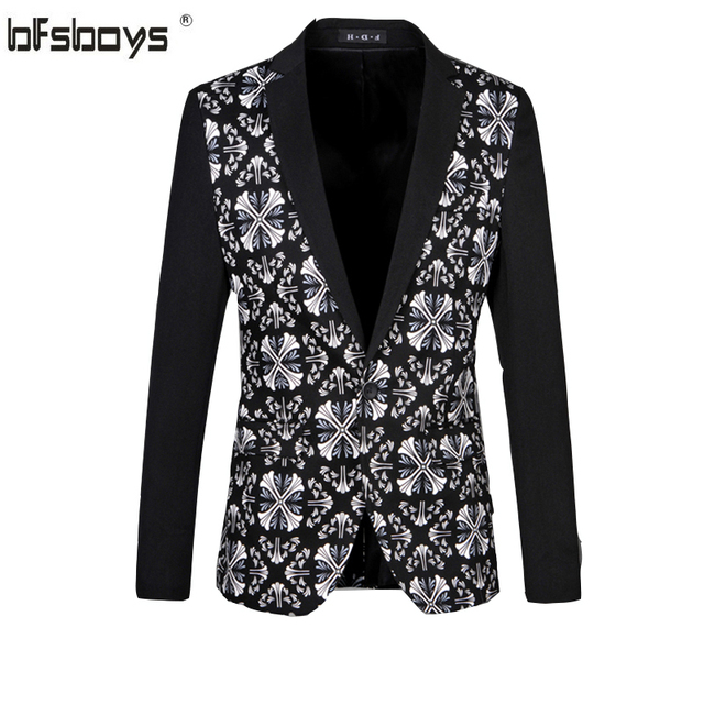 bd47562a3dc Tuxedos Men Floral Blazers 2016 New Fashion High Quality Flower Business  Dress Plus Size M-