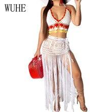 WUHE Elegant Tassel Summer Beach Dress Women Sexy Off Shoulder Maxi Dress Sleeveless Knit Crochet Hollow Out Party Long Dress цена 2017