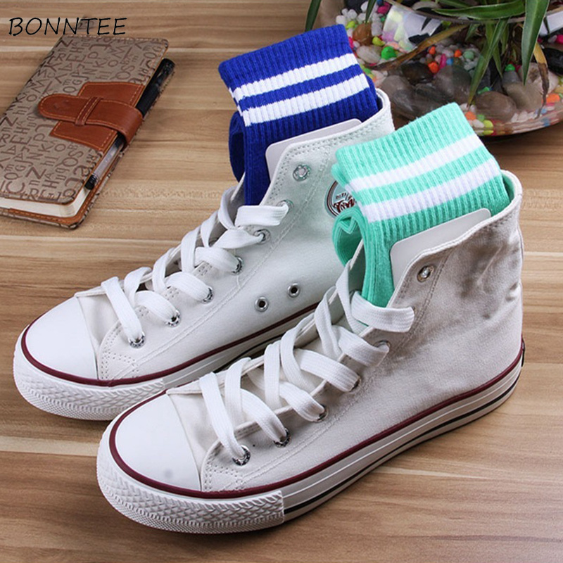 Socks Women Cotton Trendy Striped Unisex Couple Sock Harajuku Casual Students Soft Colorful Female Simple Breathable Korean Chic