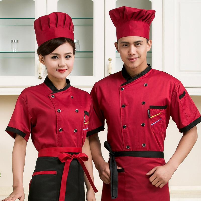 hoge kwaliteit 2018 Zomer Korte mouwen Chef service jackte Hotel werkkleding Restaurant werkkleding Tooling uniforme kok Tops