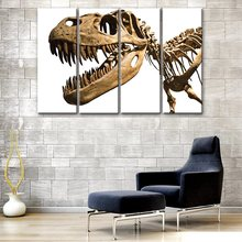 Dinosaur Fossils 4 Panels Modular High Picture Print Art Wall Painting Bedroom
