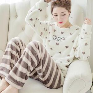 Image 3 - Fdfklak Large size flannel pajamas for women warm autumn winter pajama set cute cartoon sleepwear pijama new pyjama femme M 2XL
