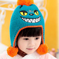 2014 New Monster Big Mouth Children Fur Hats baby girls Winter wool Hat with villi inner Kids Earflap Cap 1-3 Years Old