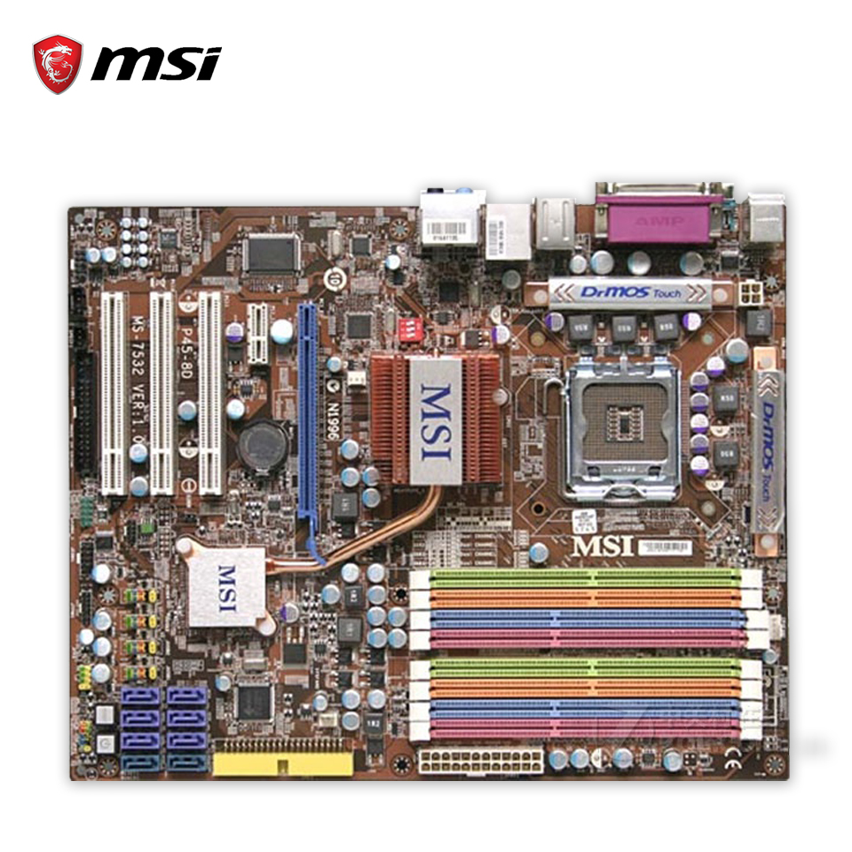 MSI DP45-8D Original Used Desktop Motherboard P45 Socket LGA 775 DDR2 16G SATA2 USB2.0 ATX msi p41 c31 original used desktop motherboard p41 socket lga 775 ddr3 4g sata2 usb2 0 atx