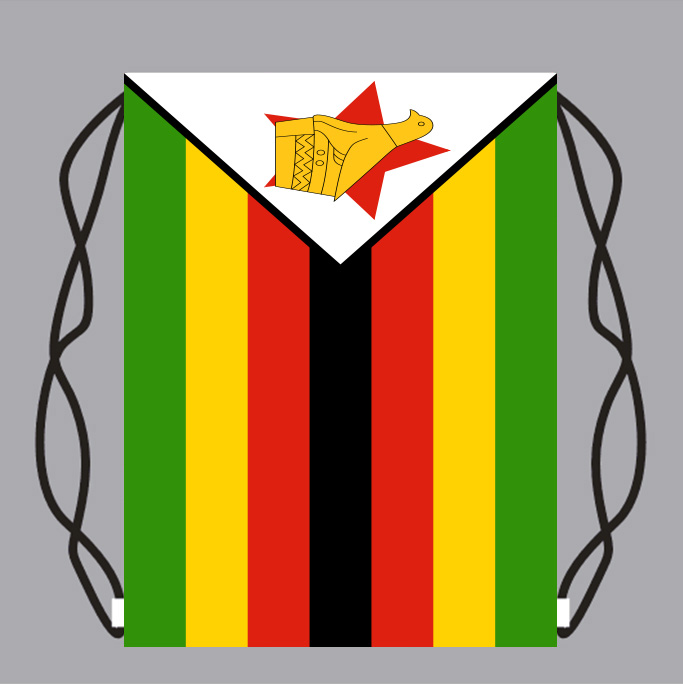 Sacchetto di Drawstring Dello Zaino con Zimbabwe Bandiera Piccolo Zaino di Stampa di Marchio Su Misura