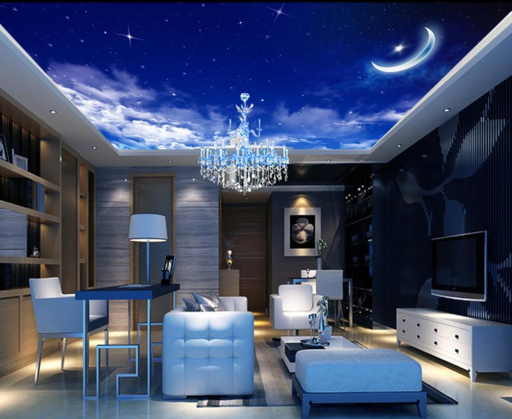 Custom papel de parede Star Moon Sky Ceiling Wallpapers For Living Room Background 3d Ceiling Wallpaper Decoration custom wallpaper murals ceiling the night sky for the living room bedroom ceiling wall waterproof papel de parede