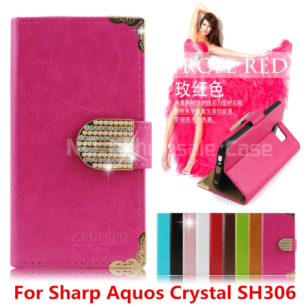 Fashion Leather Design Flip Phone Cover Wallet For Sharp Aquos Crystal  SH306 USB+Diamond Dust Plug Credit Card Slot 1Pcs 9 Color on Aliexpress.com   0657585a1f