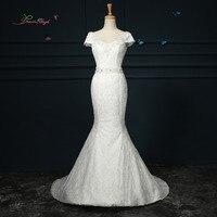 Dream Angel Elegant V Neck Short Sleeve Lace Mermaid Wedding Dress 2017 Beading Sequined Sashes China
