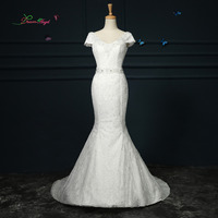 Dream Angel Elegant V Neck Short Sleeve Lace Mermaid Wedding Dress 2017 Beading Sequined Sashes China