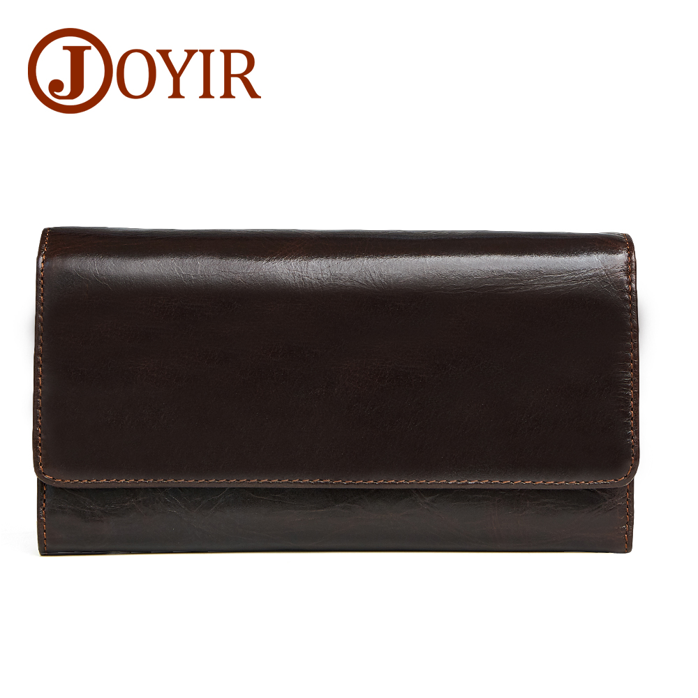 купить JOYIR Wallet Genuine Leather Coin Purse Men Long Wallet Credit Cards Holder Large Capacity Clutch Male Vintage Wallets 2048 недорого