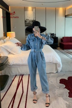 European station wide leg pants denim jumpsuit women spring 2019 vintage style cargo nine cent