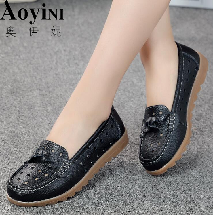 2018 Summer women flats shoes genuine leather shoes woman cutout loafers slip on Breathable ballet flat ballerina flats women shoes 2018 new footwear slip on ballet hollow genuine breathable soft flat shoes women comfortable loafers shoes ladies