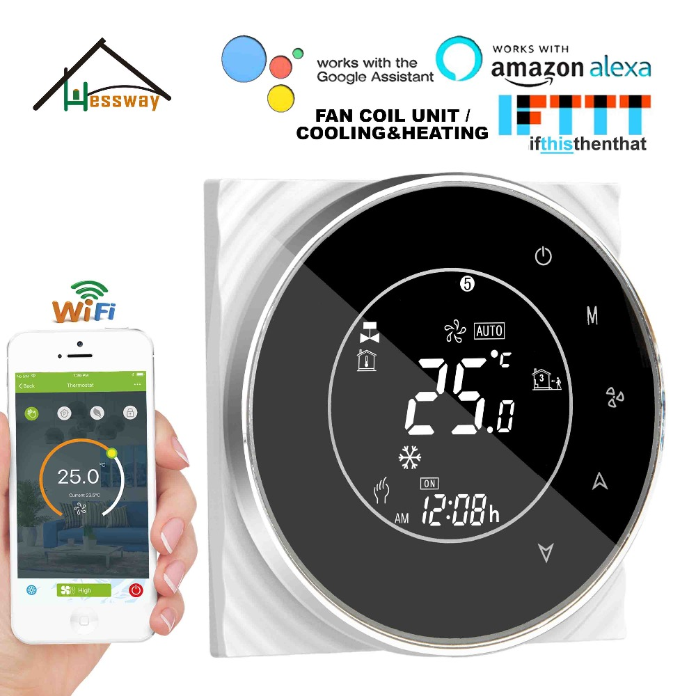 HESSWAY 2P cooling heating WIFI room thermostat temperature control switch for air conditioner by Works with