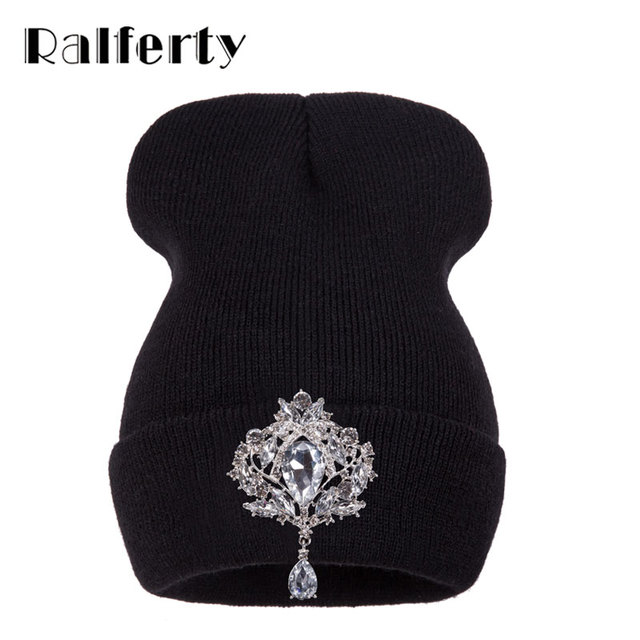 Ralferty Winter Women's Hats Luxury Crystal Accessory Headgear Beanie Hat Women Cap bonnet femme gorro Black Friday 2018 Deals