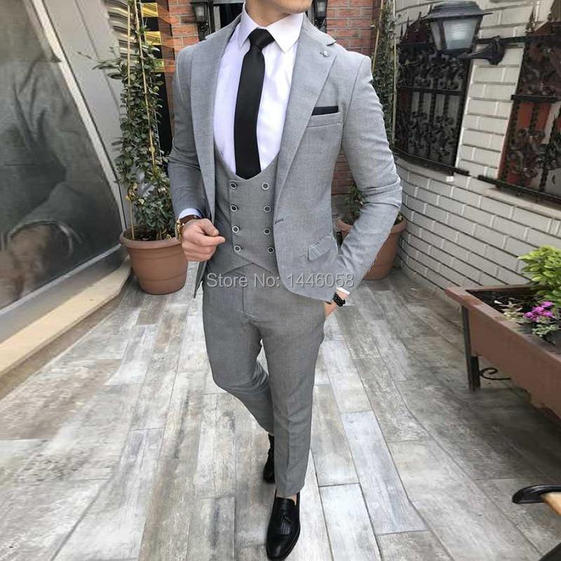 Men Wedding Suits 2018 Custom Made Slim Fit Groomsmen Notch Lapel Groom Tuxedos Light Grey Men Suits For Wedding Best Man Blazer