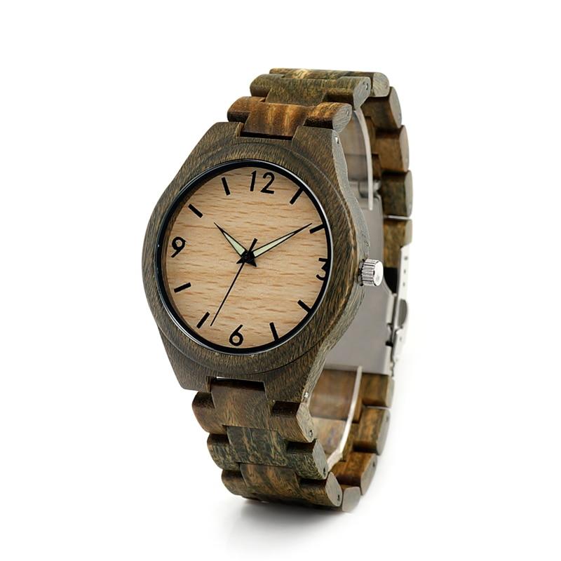 BOBO BIRD I18 Men s Green Sandal Wood Wristwatch Luminous Hand Quartz Watch with Sandalwood Strap