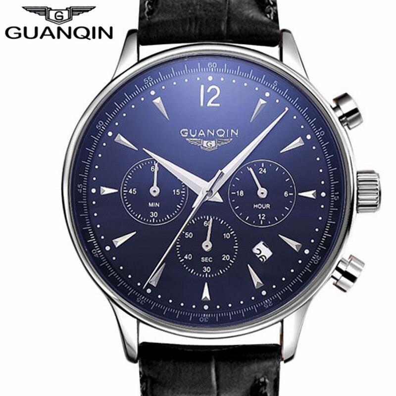 NOVA GUANQIN relógio de Pulso Relógio De Pulso Dos Homens 2017 Top Famosa Marca De Luxo de Couro Relógio Masculino Relógio de Quartzo Homem relogio kol saati