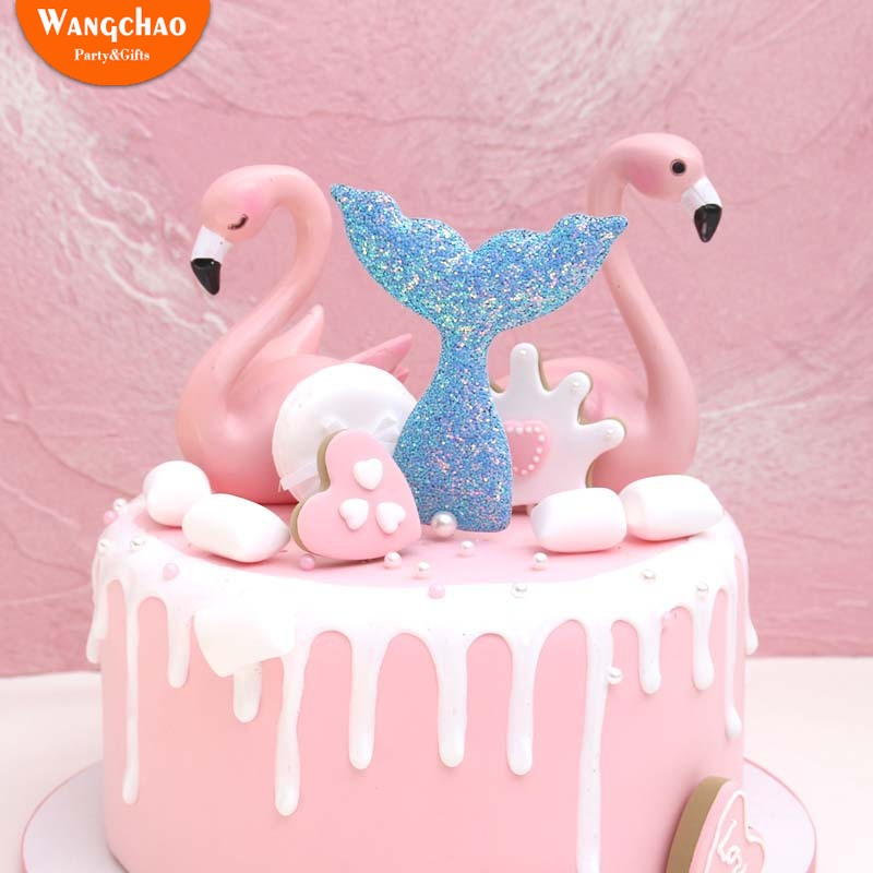 Kawaii Shinning Mermaid Cake Topper Kids Cartoon Happy Birthday Cupcake toppers Wedding Party Decoration Supplies