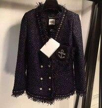 ladies primary coats,wonderful pearl buttons winter coat jaqueta feminina winter abrigos mujer elegant tweed jacket winter coat