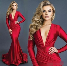 2019 robe de soiree abiye Red Mermaid Formal Evening Dresses Sexy Plunging V Neck Long Sleeves Ruched Prom dress robe de soiree robe de soiree new plunging v neck appliques evening dress champagne prom gowns pageant dresses vestido de noiva