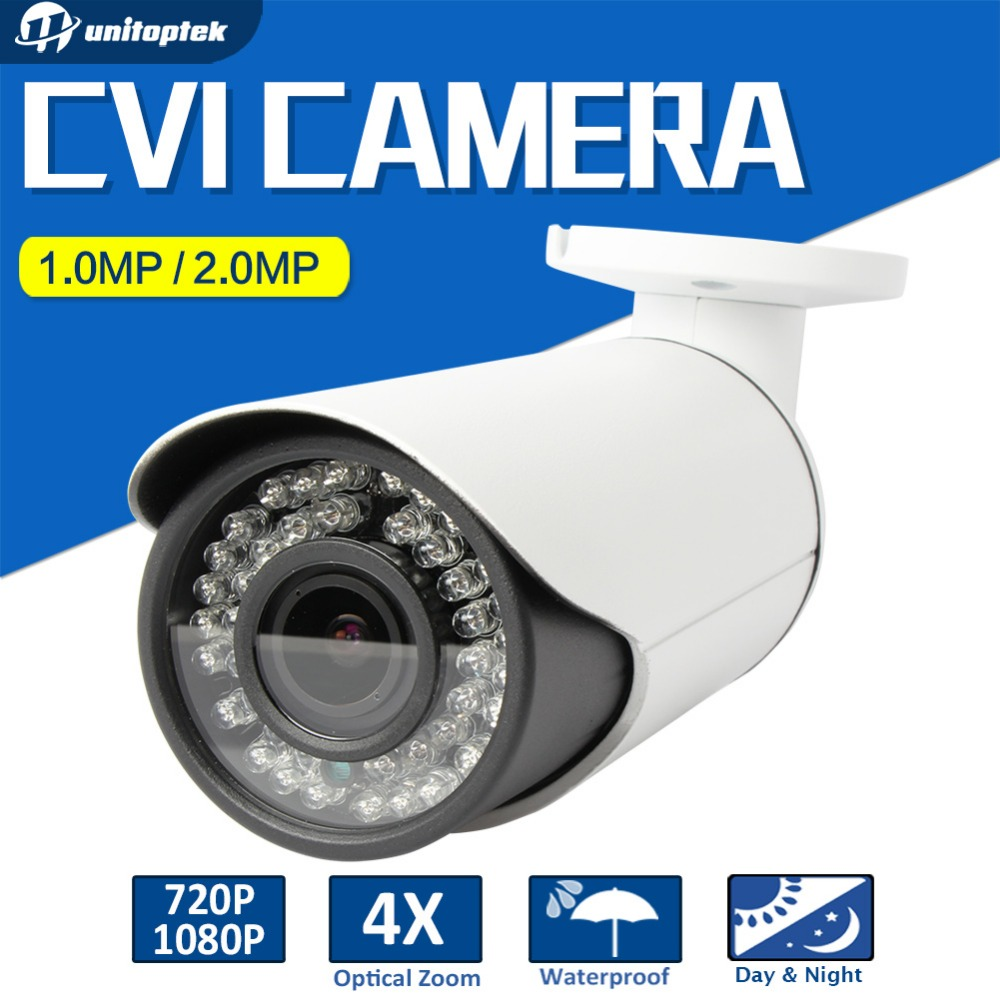 UNITOPTEK HD CVI Camera 720P 1080P Varifocal 2.8-12mm Lens Night Vision Outdoor IR Bullet CCTV 2MP HDCVI Camera For CVR DVR hd cvi array ir outdoor bullet security camera 6mm lens 1 0 mp night vision